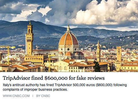 Trip Advisor fined $600,000 for fake reviews